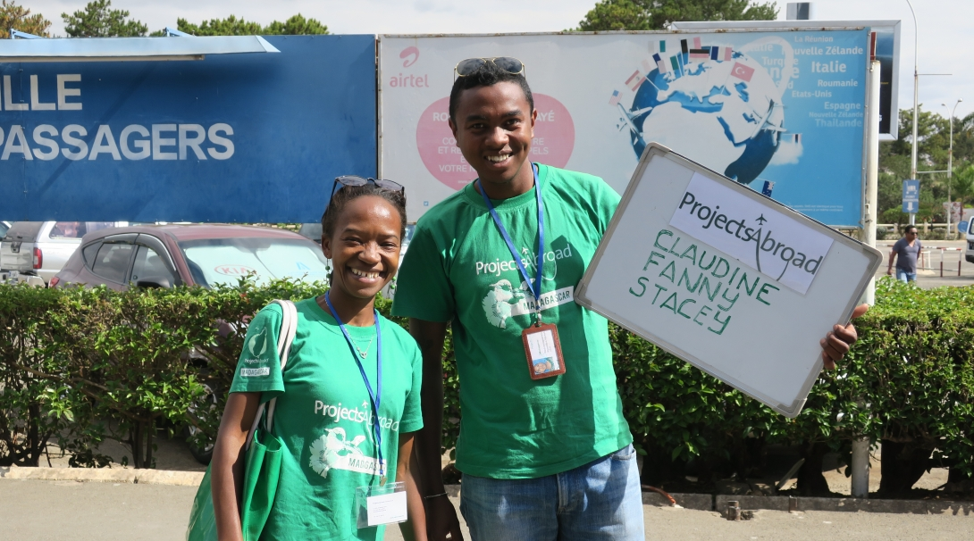 Madagascar staff collect volunteers as they arrive at the airport to ensure that they stay safe while volunteering abroad.